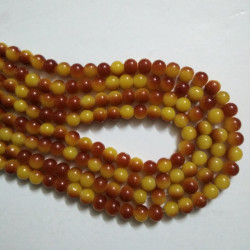 Dual Shade Glass Bead 8 mm Yellow & Brown
