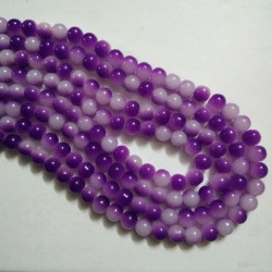 Dual Shade Glass Bead 8 mm Violet & White