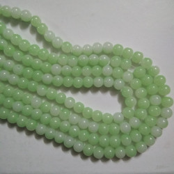 Dual Shade Glass Bead 8 mm Pale Green & White