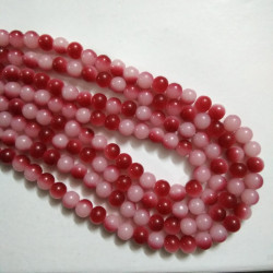 Dual Shade Glass Bead 8 mm Red & White