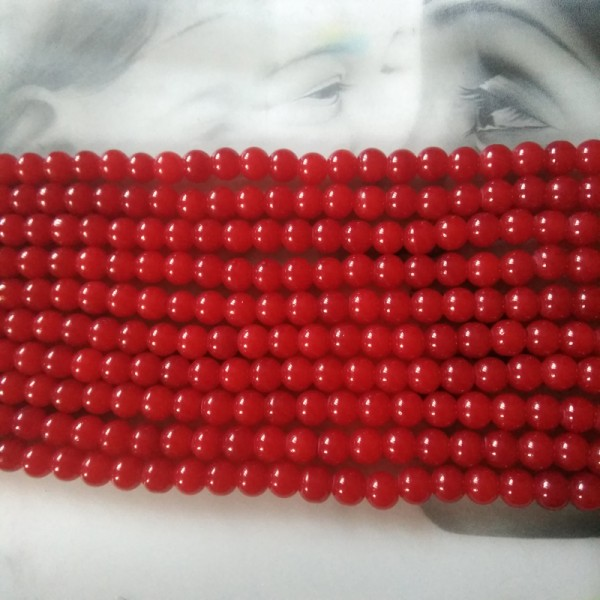 Glass Beads 8 mm Red